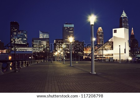 Blue evening in downtown of Cleveland - stock photo