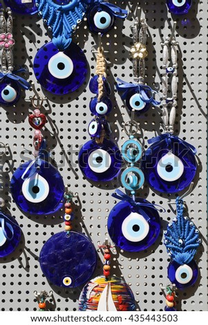 Blue Evil Eye souvenir sold in a Greek souvenir shop