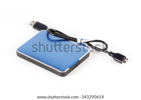 Blue External Hard Drive isolated on white - stock photo
