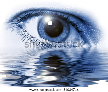 Blue eye close-up with light flare on white background and water glare
