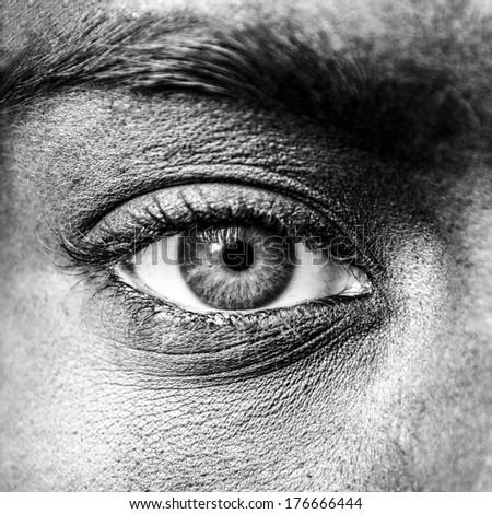 Blue eye extreme close up - stock photo