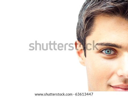Blue eye man portrait - stock photo