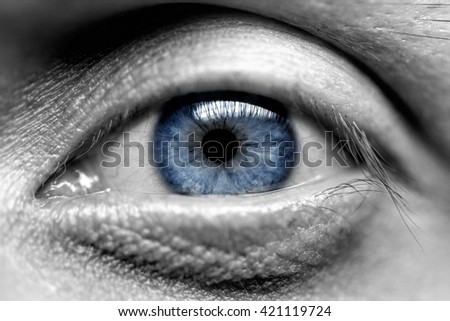 Blue eye men. Close-up Macro black and white - stock photo