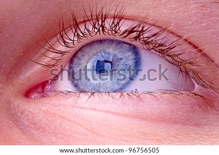 blue eye with reflection of a person holding a sign - stock photo