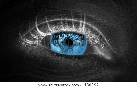 Blue Eye with Reverse Skin Tones close-up - stock photo