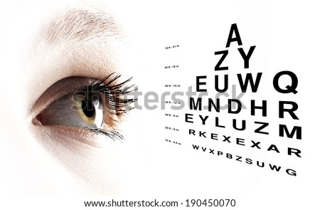 Blue eye with test vision chart close up - stock photo
