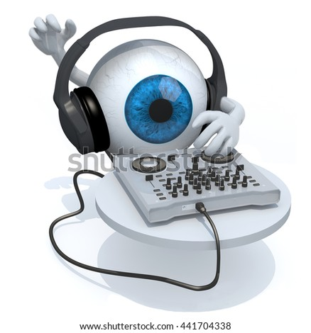 Blue Eyeball with dj headset in front of consolle, 3d illustration