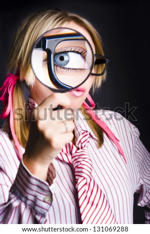 Blue Eyed Nerd With Enlarged Pupil Looking Through Magnifying Glass When Spying for Unsolved Business Clues