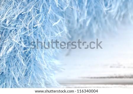 Blue eyelash fabric frame - stock photo