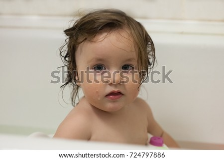 Blue Eyes Little Girl Bathing Bucket Stock Photo (Royalty Free ...