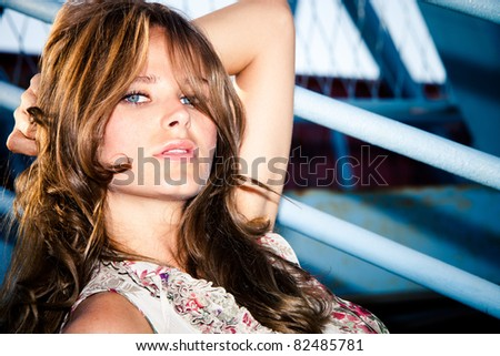 blue eyes woman outdoor portrait - stock photo