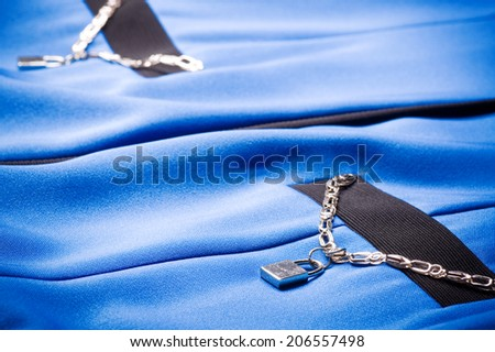 Blue fabric from dress - stock photo