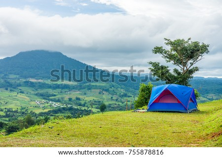 Blue fabric tent on mountain at Khao Ta-Khian Ngo Viewpoint. The location in & Blue Fabric Tent On Mountain Khao Stock Photo 755878816 - Shutterstock