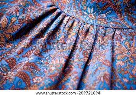 Blue fabric with ornament - stock photo