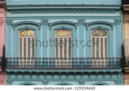 Blue facade of colonial building, Havana, Cuba - stock photo