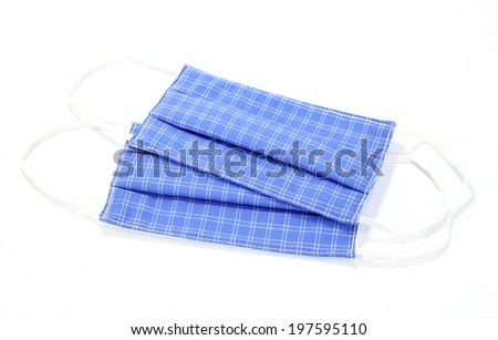 blue face mask isolated on white background