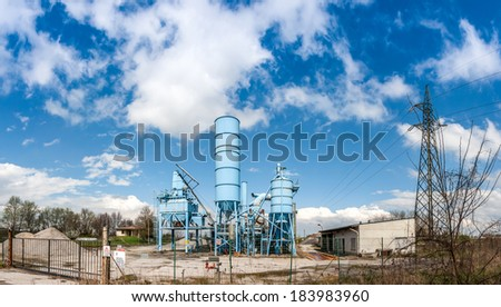 blue factory in the country