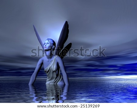 Blue fairy bathing in the Ocean or Sea