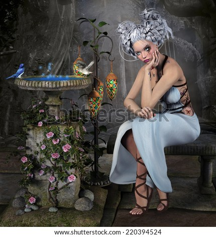 Blue fairy sits in an enchanted garden - stock photo
