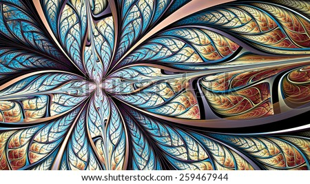 Blue fantasy artistic flower. Beautiful futuristic abstract background for wallpaper, interior, album, flyer cover, banner, poster, booklet. Fractal artwork for creative vintage graphic design. - stock photo