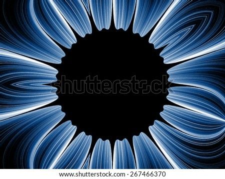 blue fantasy artistic flower with lighting effect. Beautiful shiny futuristic background for wallpaper, interior, album, flyer cover, poster, booklet. Fractal artwork for creative design - stock photo