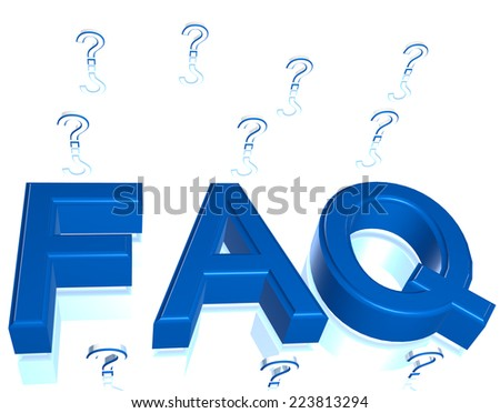 Blue FAQ Frequently Asked Questions three dimensional illustration - stock photo