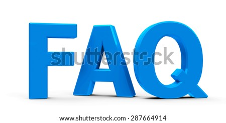 Blue FAQ symbol, icons or button isolated on white background, three-dimensional rendering