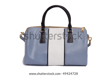 blue fashion bag on white background