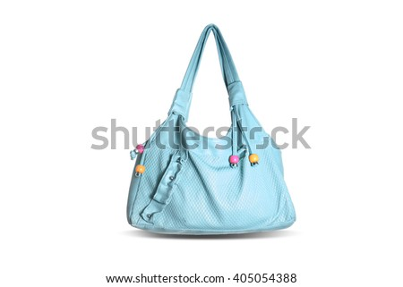 blue fashion female shoulder bag on white background - stock photo