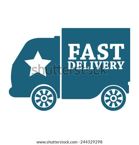 blue fast shipping icon, tag, label, badge, sign, sticker isolated on white  - stock photo