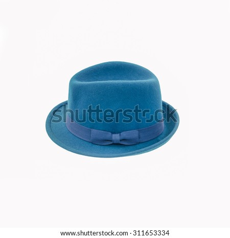 blue fedora hat isolated on white - stock photo