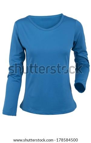blue female blouse isolated on white background - stock photo