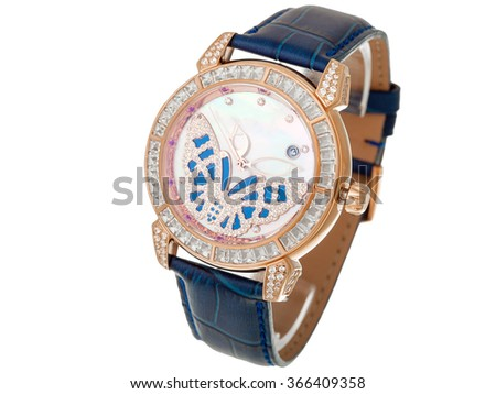 Blue Female watch with a leather thong and the dial from gold and jewels, the dial with a butterfly from diamonds. The isolated image on a white background, nobody. - stock photo
