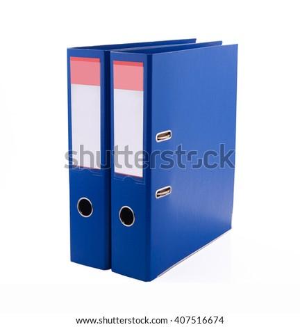 Blue files folder, isolated on white background  - stock photo
