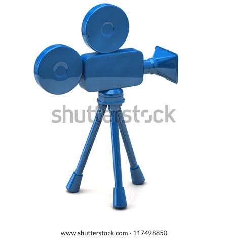 Blue film camera icon - stock photo