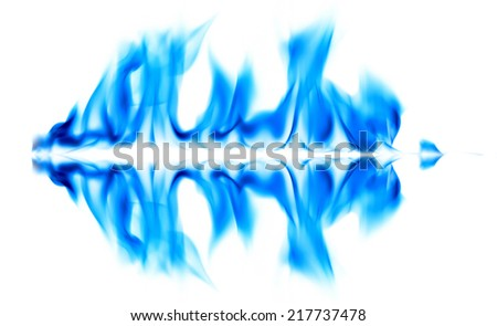 Blue fire and flames on white background