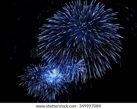 Blue  firework - stock photo