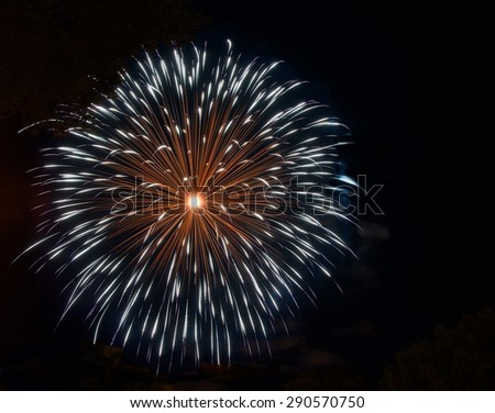 Blue fireworks in dark background, orange red fireworks isolated in dark, colourful fireworks, New year, Christmas holidays, Independence day, explode, fireworks festival in Malta  - stock photo
