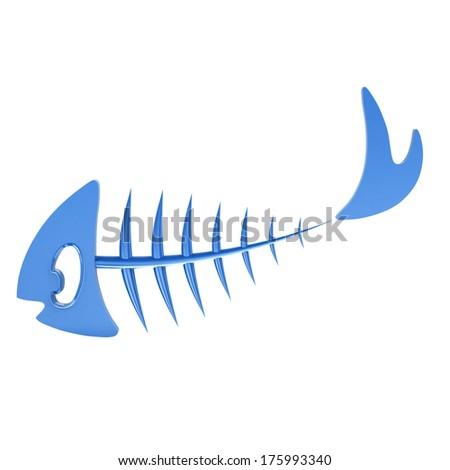 Blue fish bone, 3d illustration - stock photo