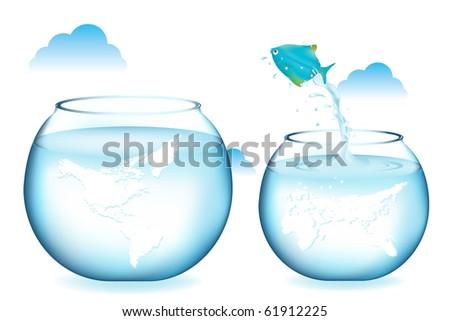 Blue Fish Jumping To Other Globe Aquarium, Isolated On White - stock photo