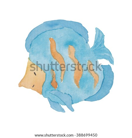 Blue Fish Watercolor Nautical Illustration  - stock photo