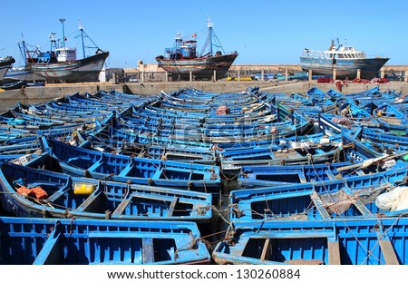 Blue fishing boats in harbor Essaouira, Morocco - stock photo