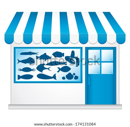 Blue fishmonger. Cute little shop. - stock photo