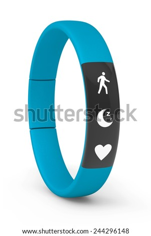 Blue Fitness Tracker on a white background - stock photo