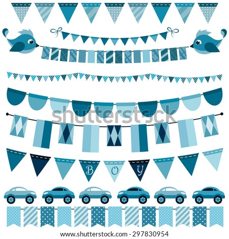 Blue flags, bunting and garland set for boys. Raster version - stock photo