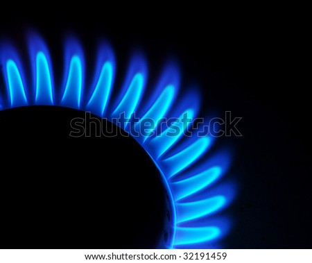 Blue flames of gas - stock photo