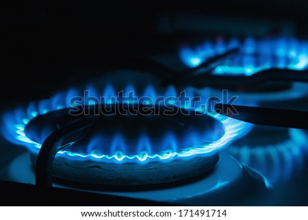 Blue flames of gas burning from a kitchen gas stove. Focus the front edge of the hotplate - stock photo