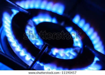 Blue flames of gas stove