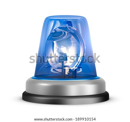 Blue flasher icon. Isolated on white - stock photo