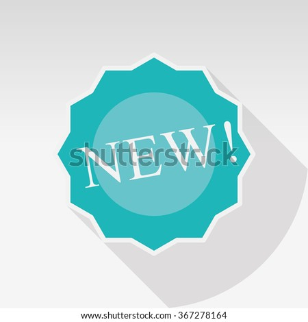 Blue Flat Design  Sticker - Label with New Title - stock photo